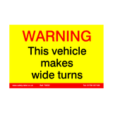 Vehicle Wide Turns Sticker | Safety-Label.co.uk