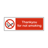 No Smoking Thankyou Sticker - Safety-Label.co.uk