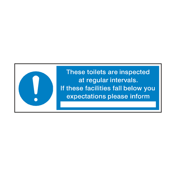 Toilet Inspection Hygiene Sign | Safety-Label.co.uk