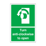 Turn Anti-clockwise To Open Sticker | Safety-Label.co.uk