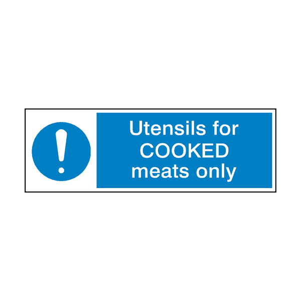 Utensils For Cooked Meat Hygiene Sign | Safety-Label.co.uk