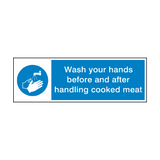Wash Your Hands Handle Cooked Meat Sign | Safety-Label.co.uk