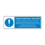 Waste Disposal Machine Instructions Sign | Safety-Label.co.uk