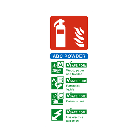 ABC Powder Fire Extinguisher Sticker - Safety-Label.co.uk