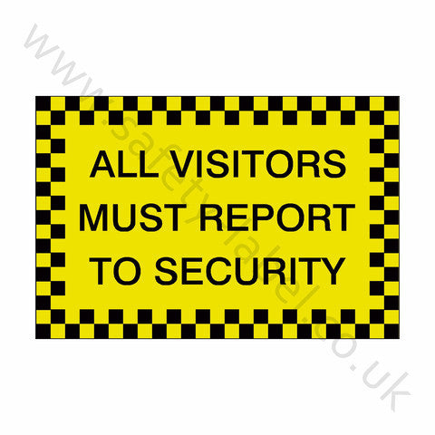 All Visitors Security Sticker - Safety-Label.co.uk
