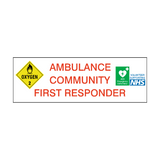 Ambulance Community First Responder Sticker | Safety-Label.co.uk