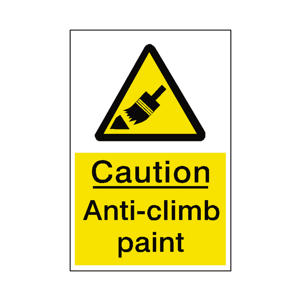 Anti Climb Paint Hazard Sticker - Safety-Label.co.uk