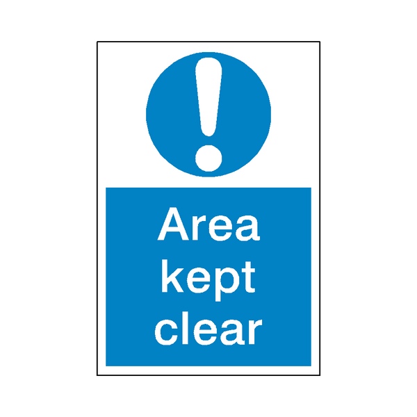 Area Kept Clear Mandatory Sign - Safety-Label.co.uk