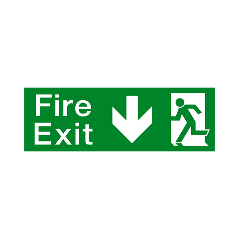 Arrow Down Fire Exit Sign - Safety-Label.co.uk