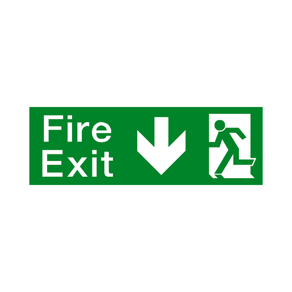 Arrow Down Fire Exit Sticker | Safety-Label.co.uk