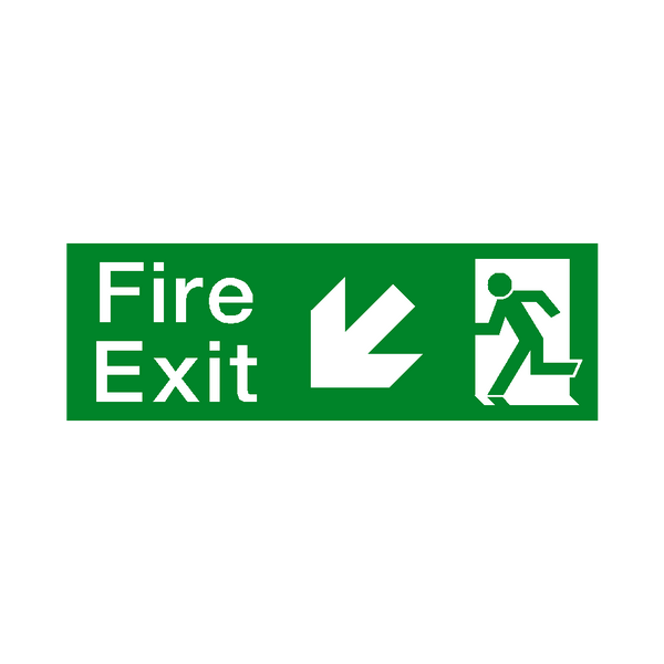 Arrow Down Left Fire Exit Sign | Safety-Label.co.uk