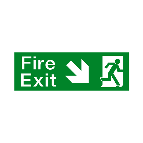 Arrow Down Right Fire Exit Sign - Safety-Label.co.uk