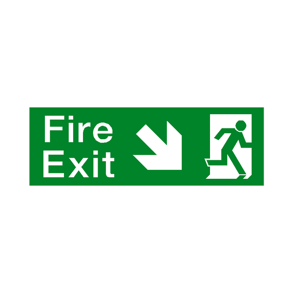 Arrow Down Right Fire Exit Sticker | Safety-Label.co.uk