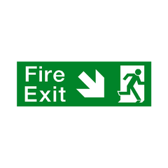 Arrow Down Right Fire Exit Sticker - Safety-Label.co.uk