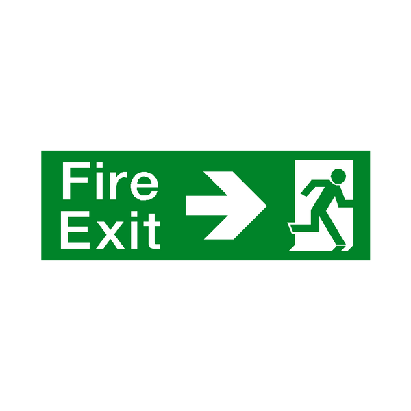 Arrow Right Fire Exit Sticker | Safety-Label.co.uk
