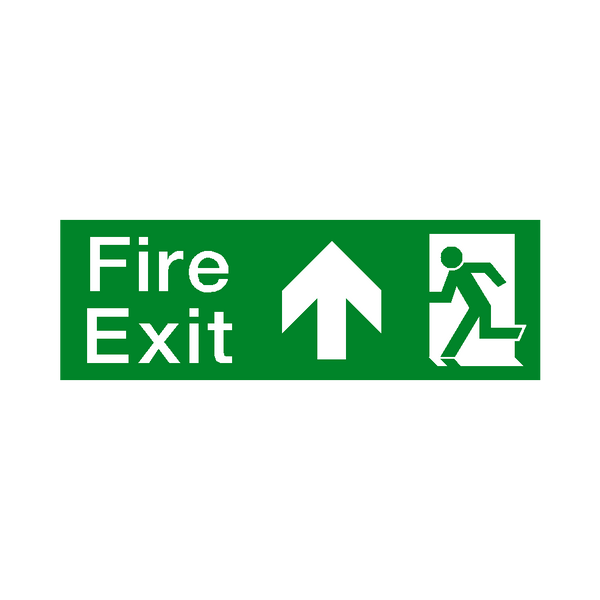 Arrow Up Fire Exit Sticker | Safety-Label.co.uk