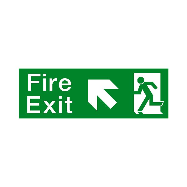 Arrow Up Left Fire Exit Sticker | Safety-Label.co.uk