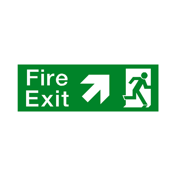 Arrow Up Right Fire Exit Sign - Safety-Label.co.uk