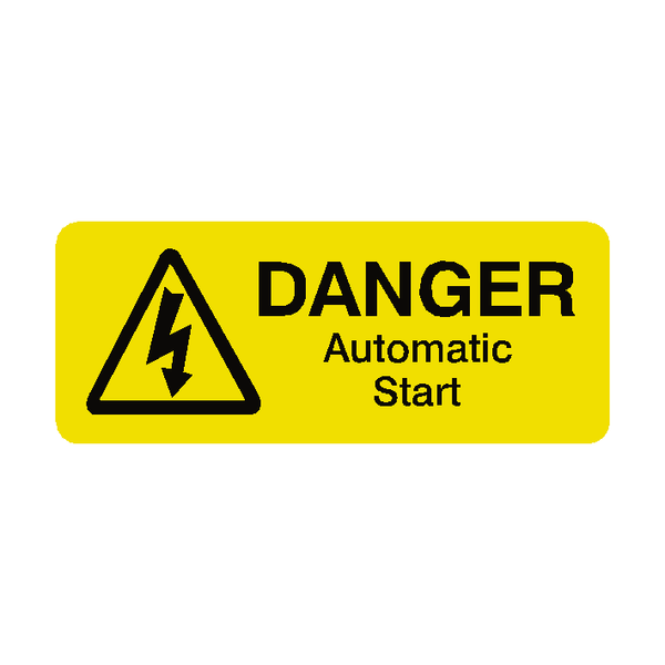 Automatic Start Labels Mini - Safety-Label.co.uk