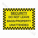Bags Unattended Sticker | Safety-Label.co.uk