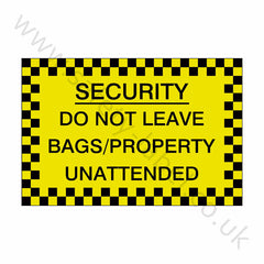 Bags Unattended Sticker - Safety-Label.co.uk