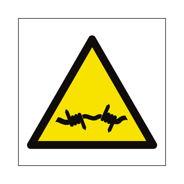 Barb Wire Hazard Symbol Sign - Safety-Label.co.uk