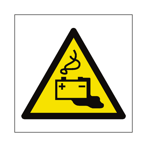Battery Charging Hazard Symbol Label - Safety-Label.co.uk