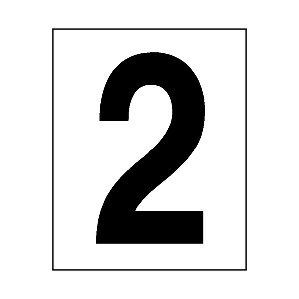 Number 2 Sticker Black - Safety-Label.co.uk