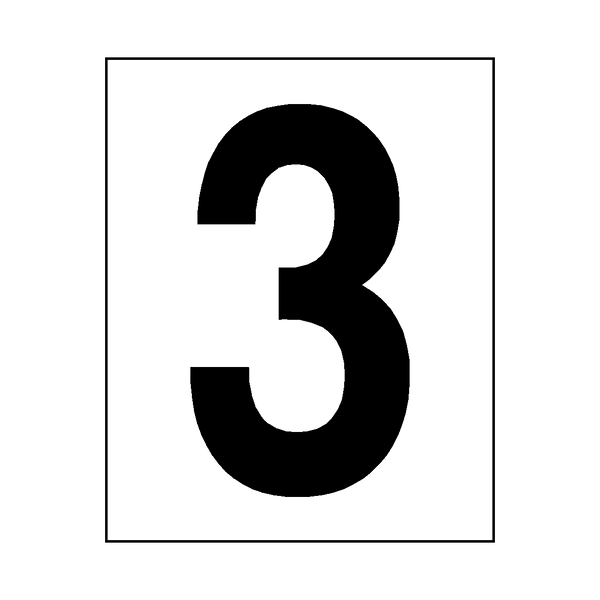 Number 3 Sticker Black | Safety-Label.co.uk