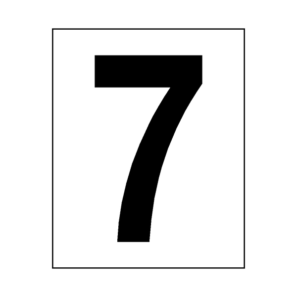 Number 7 Sticker Black - Safety-Label.co.uk