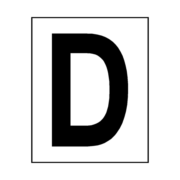 Letter D Sticker Black | Safety-Label.co.uk