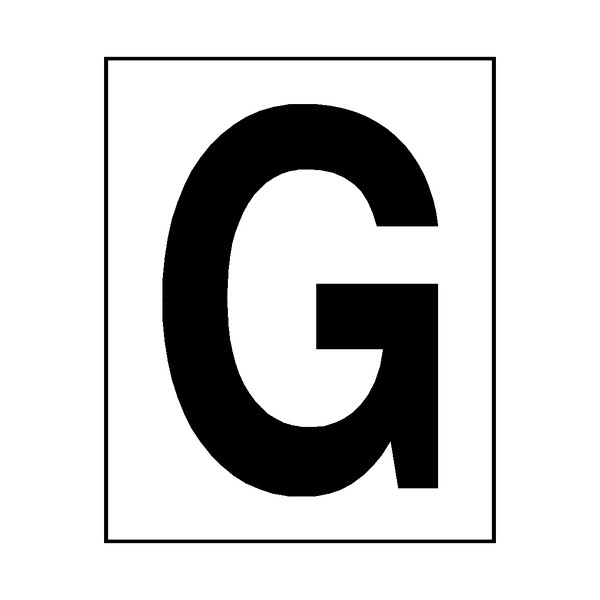 Letter G Sticker Black - Safety-Label.co.uk