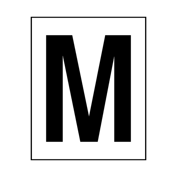 Letter M Sticker Black - Safety-Label.co.uk
