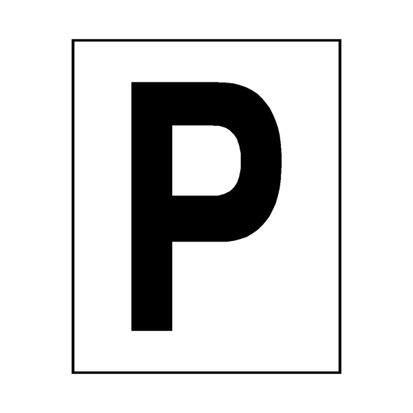 Letter P Sticker Black - Safety-Label.co.uk