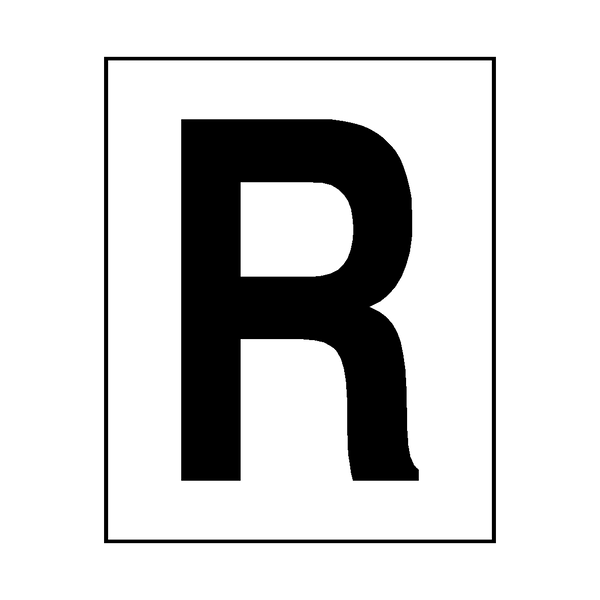 Letter R Sticker Black | Safety-Label.co.uk