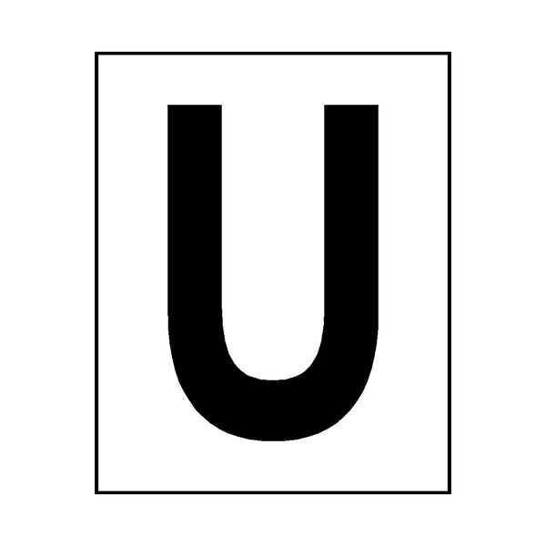 Letter U Sticker Black - Safety-Label.co.uk