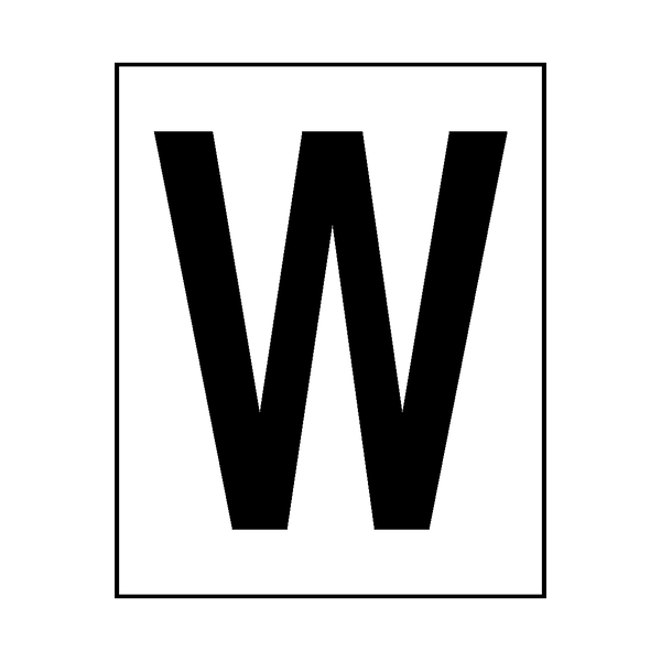 Letter W Sticker Black | Safety-Label.co.uk