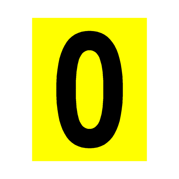 Yellow Number 0 Sticker - Safety-Label.co.uk