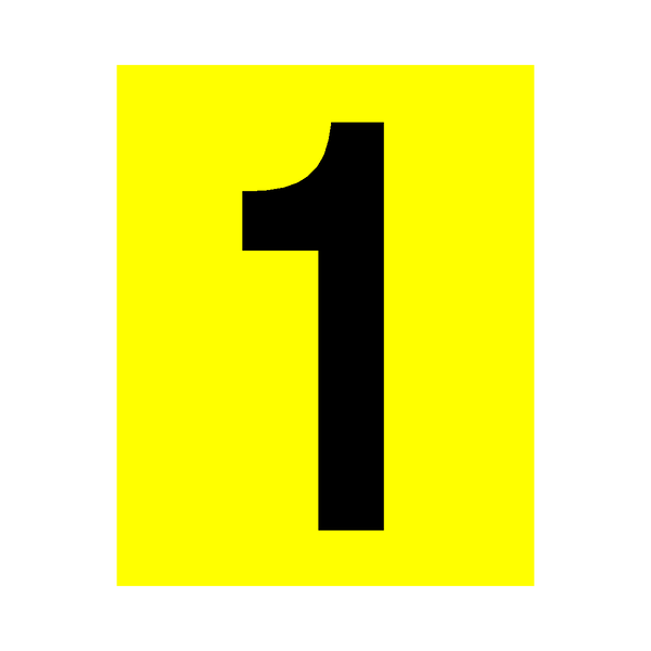 Yellow Number 1 Sticker - Safety-Label.co.uk