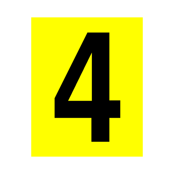 Yellow Number 4 Sticker - Safety-Label.co.uk