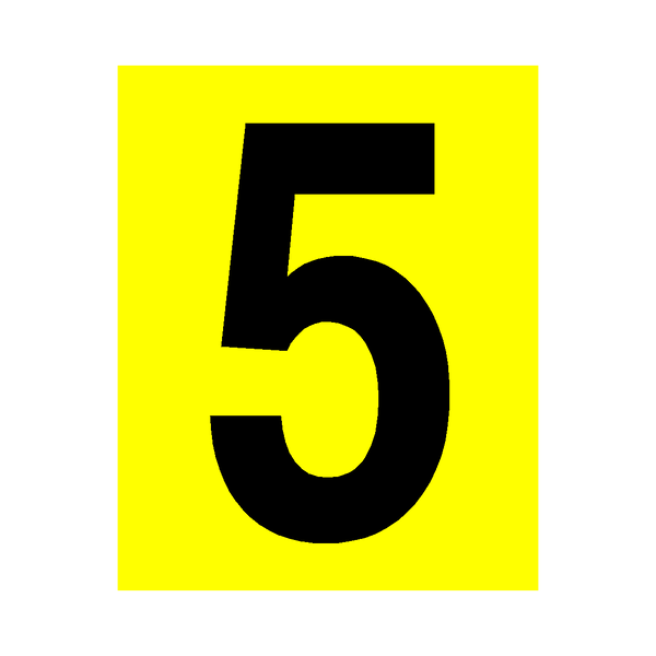 Yellow Number 5 Sticker - Safety-Label.co.uk