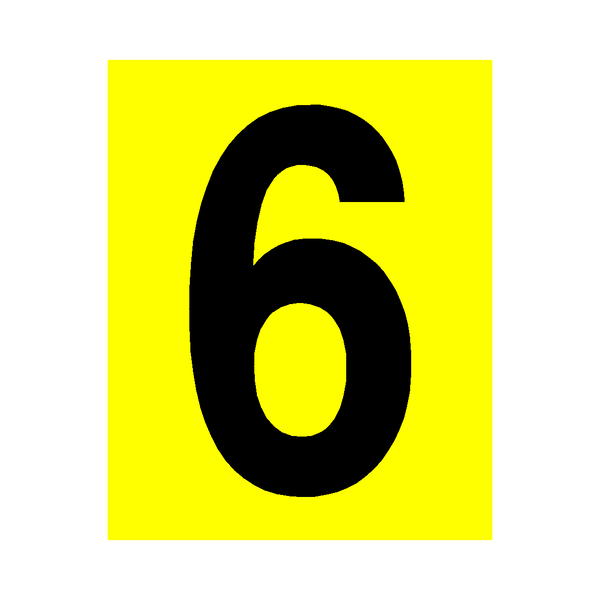 Yellow Number 6 Sticker | Safety-Label.co.uk