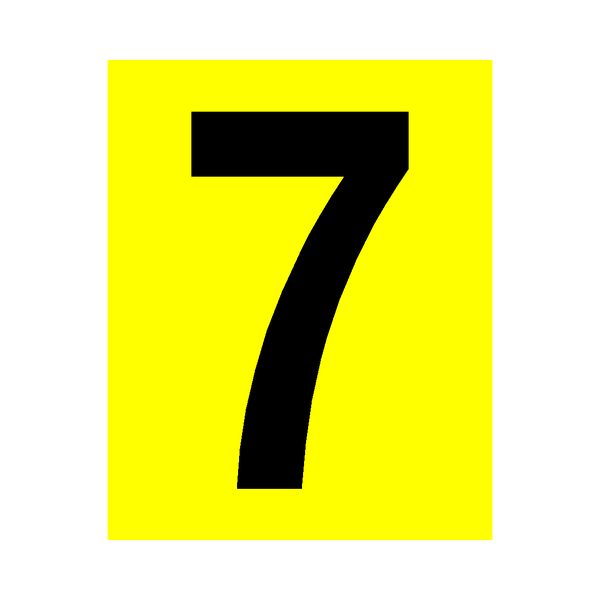 Yellow Number 7 Sticker | Safety-Label.co.uk