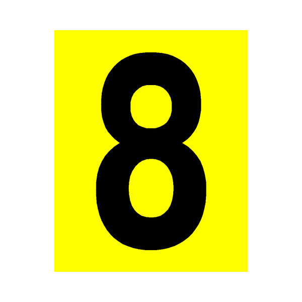 Yellow Number 8 Sticker | Safety-Label.co.uk