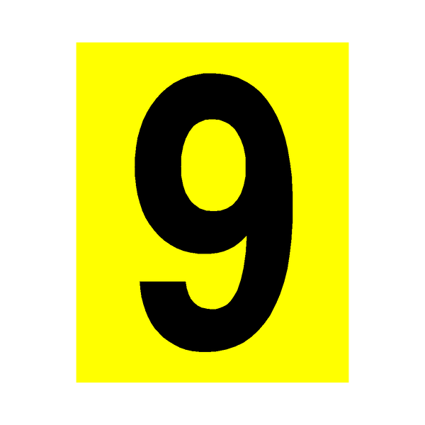 Yellow Number 9 Sticker | Safety-Label.co.uk