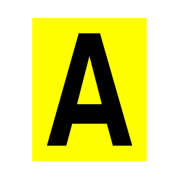 Yellow Letter A Sticker - Safety-Label.co.uk