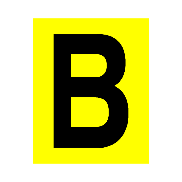 Yellow Letter B Sticker - Safety-Label.co.uk
