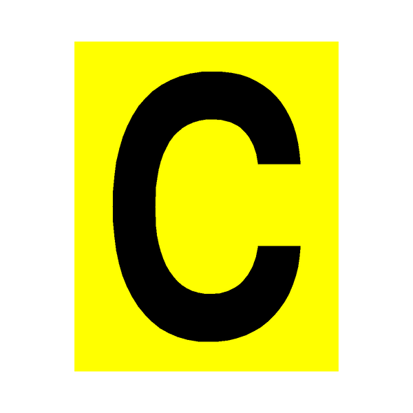yellow letter c sticker safety