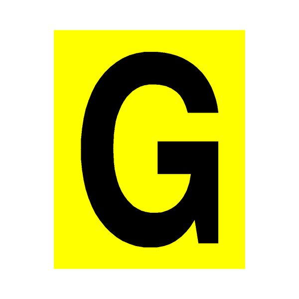 Yellow Letter G Sticker | Safety-Label.co.uk