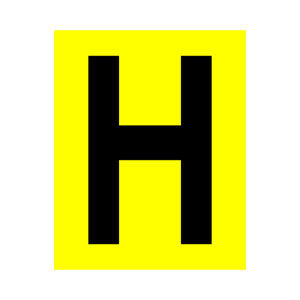 Yellow Letter H Sticker | Safety-Label.co.uk